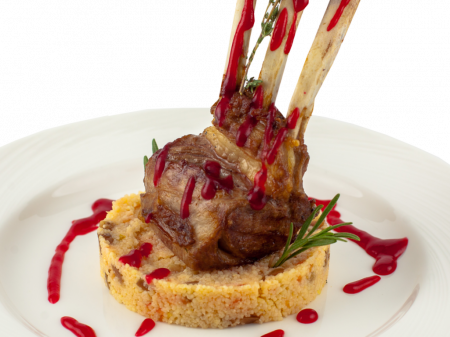 Roasted lamb chops with couscous and red pepper coulis