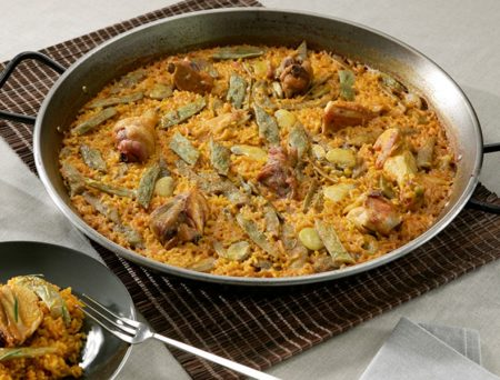 """Paella valenciana"" with vegetables, chicken and reindeer meat"